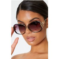 Black Smoke Oversized Snake Trim Sunglasses
