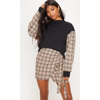 Black Contrast Check Sleeve Sweater