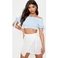 Baby Blue Bardot Bow Sleeve Ribbed Crop Top