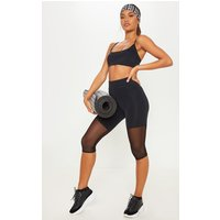 Black Basic Mesh Insert Gym Legging