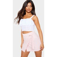 Baby Pink O Ring Wrap Front Mini Skirt
