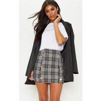 Black Tweed Button Detail Mini Skirt