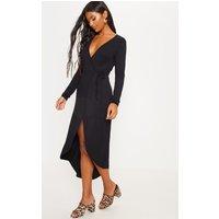 Black Long Sleeve Wrap Midi Jersey Tea Dress