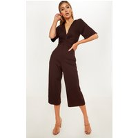 Chocolate Ribbed Twist Detail Culotte Jumpsuit