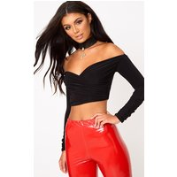 Black Slinky Bardot Longsleeve Crop Top