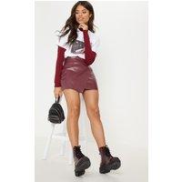 Brick Faux Leather Wrap Mini Skirt