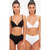 2 Pack Black & White Basic Jersey Bra And Knicker Set