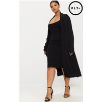 Plus Black Crepe Maxi Duster Jacket