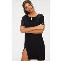 Black Split Leg T Shirt Dress
