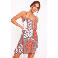 Orange Paisley Cut Out Swing Dress