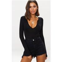 Basic Black Plunge Long Sleeve Bodysuit