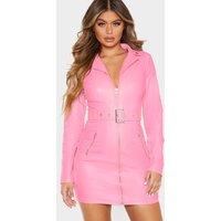 Baby Pink Faux Leather Biker Buckle Bodycon Dress
