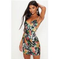 Black Satin Floral Strappy Scoop Back Bodycon Dress