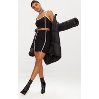 Black Contrast Binding Mini Skirt