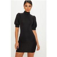 Black Bonded Scuba Puff Shoulder Bodycon Dress