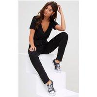 Black Jersey Wrap Jumpsuit