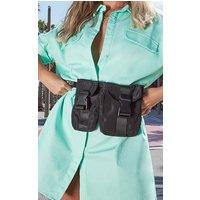 Black Double Pocket Pouch Bag