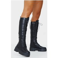 Black Knee High Lace Up Textured Sole Chunky Boots, Black cashback