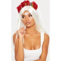 Black Headband With Skull & Flower