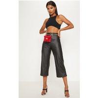 Black Faux Leather Culotte