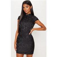 Black Floral Satin Oriental Bodycon Dress
