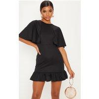 Black Cape Detail Frill Hem Bodycon Dress