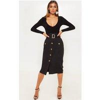 Black Belted Waist Utility Skirt