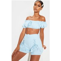 Baby Blue Woven Bardot Frill Detail Crop Top