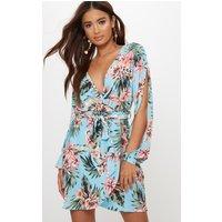 Blue Floral Open Sleeve Wrap Detail Shift Dress