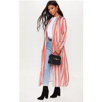 Grey Longline Stripe Kimono, Grey