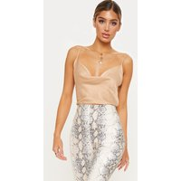 Champagne Hammered Satin Cowl Cami