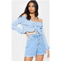 Baby Blue Ruched Knit Extreme Sleeve Crop Jumper