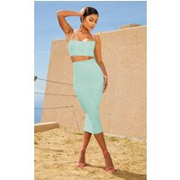 Aqua Second Skin Binding Detail Midi Skirt