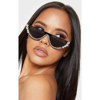 Black Retro Flat Top Diamante Glasses