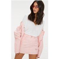 Baby Pink Distressed Denim Mini Skirt