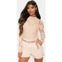 Image of Dusty Pink Lace Long Sleeve Bodysuit, Dusty Pink