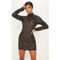 Black Glitter High Neck Long Sleeve Bodycon Dress