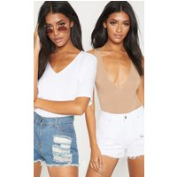 2 Pack Vintage Wash/white Ripped Denim Hot Pants