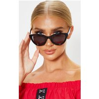 Black Shiny Oversized Cat Eye Frame Sunglasses