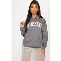 Charcoal True Slogan Oversized Hoodie
