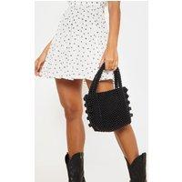 Black Beaded Box Bag