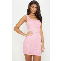 Baby Pink Lace Square Neck Panelled Bodycon Dress
