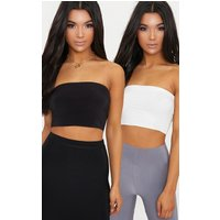2 Pack Black And White Slinky Bandeau Crop Top