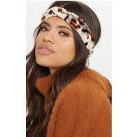 Brown Leopard Print Velvet Headband