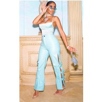 Baby Blue Faux Leather Buckle Strap Detail Trouser