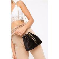 Black Velvet Chain Bucket Bag