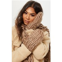 Camel Chunky Knit Mittens