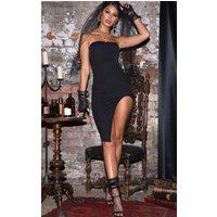 Black Bandeau Split Front Midi Dress