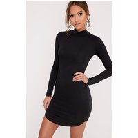 Alby Black Curve Hem High Neck Dress