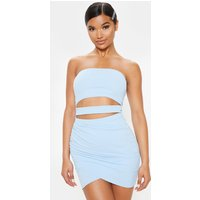 Baby Blue Bandeau Cut Out Ruched Bodycon Dress